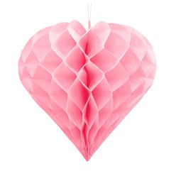 Pastel Pink Honeycomb Heart Hanging Decoration - 30cm