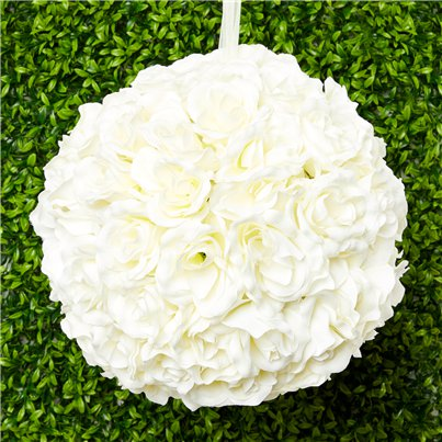 Cream Rose Hanging Pom Pom Decoration - 30cm