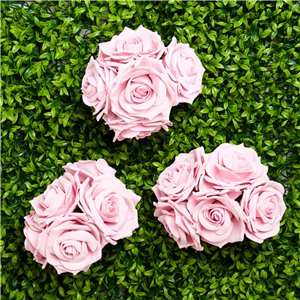 Pastel Pink Foam Rose Bud Decorations