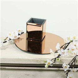 Rose Gold Round Mirror Plate - 30cm