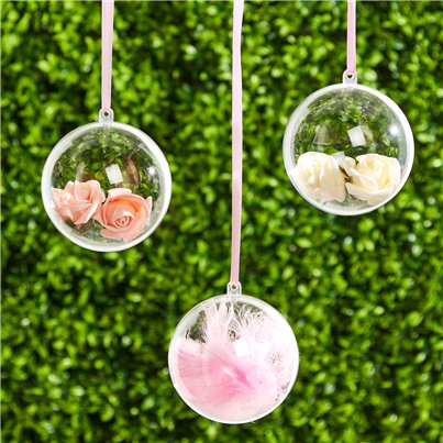 Plastic Baubles Hanging Decorations - 8cm