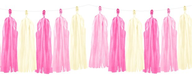 Pink Mix Tassel Garland Decoration - 1.5m