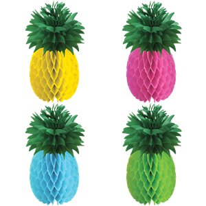 Multicoloured Pineapple Honeycomb Decorations