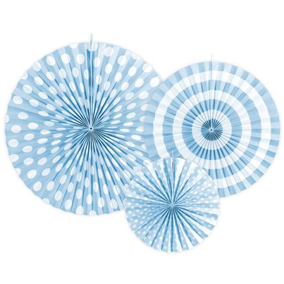 Light Blue Patterned paper Fans 23cm-40cm