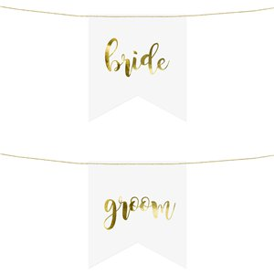 Bride & Groom Gold Metallic Chair Signs - 20cm