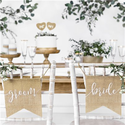 Bride & Groom Rustic Hessian Chair Signs - 22cm