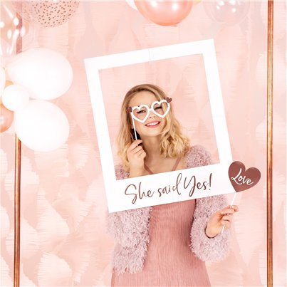 She Said Yes Rose Gold Selfie Photo Frame - 60cm