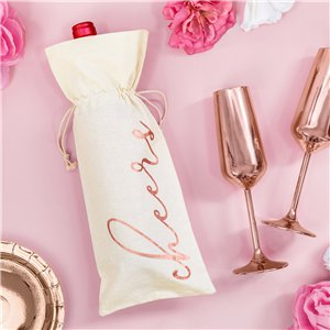 Cheers Cotton Bottle Bags - 15.5cm x 36cm