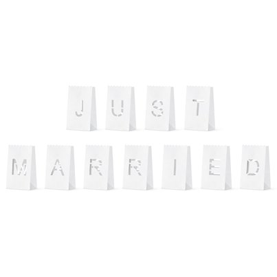 Just Married Lantern Candle Bags - 19cm