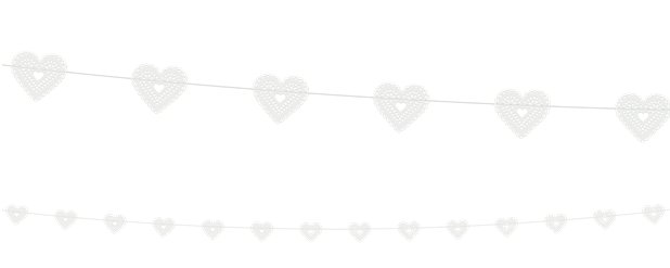 White Hearts Garland - 1.8m