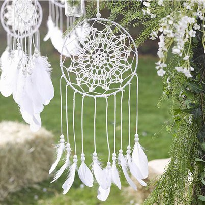 White Dream Catcher Decoration - 53cm