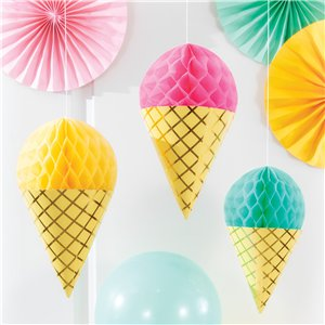 Ice Cream Honeycomb Hanging Cutouts