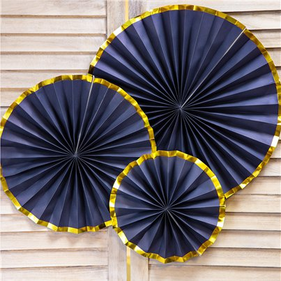Navy & Gold Paper Fan Decorations