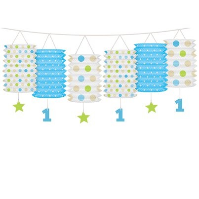 1st Birthday Blue Mix Lantern Garland - 3.6m