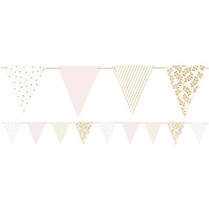 Gold & Pink Patterned Paper Bunting -  2.1 m