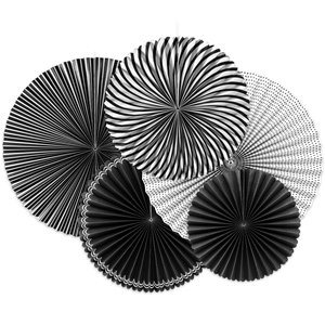 Black & White Paper Fan Decorations - 40cm
