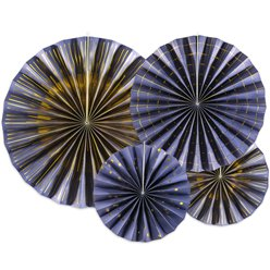 Navy Blue & Gold Mix Fan Decorations