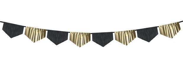 Black & Gold Scalloped Fringe Garland - 3m