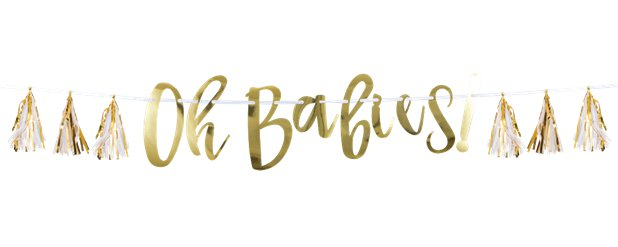 Oh Babies Gold Banner with Tassels - 1.5m