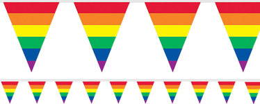 rainbow stripes plastic bunting 37m