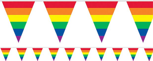 Rainbow Stripes Plastic Bunting - 3.7m