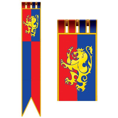 Jointed Medieval Pull Down Cutout Long Flag - 1.8m