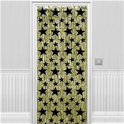 Gold with Black Stars Metallic Foil Curtain - 2.4m