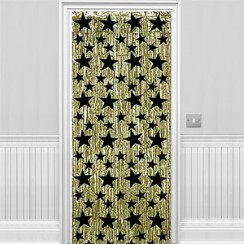 Gold with Black Stars Metallic Curtain - 2.4m