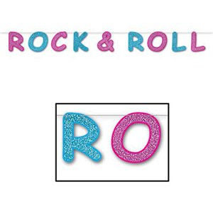 Glittered Rock and Roll Streamer