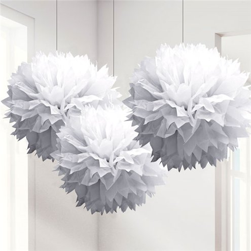 CLEARANCE  2 x White Fluffy Pom Pom Paper Garland Decoration 3.65m