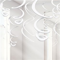 White Hanging Swirls Decoration - 55cm