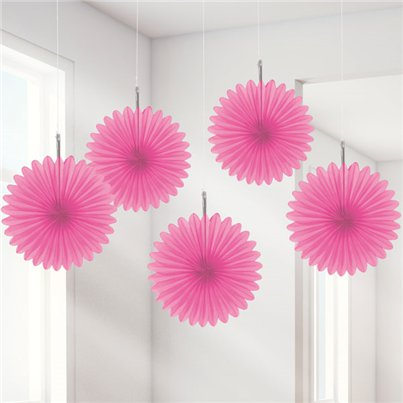 Pink Paper Fan Decorations - 15cm