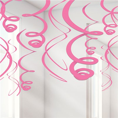 Pink Hanging Swirls Decoration - 55cm