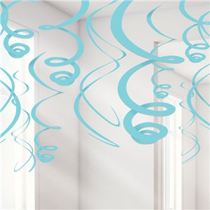 Turquoise Hanging Swirls Decoration - 55cm
