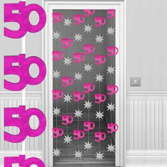 50th Hot Pink/Silver Door Curtain - 1.95m