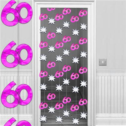 60th Hot Pink/Silver Door Curtain - 1.95m