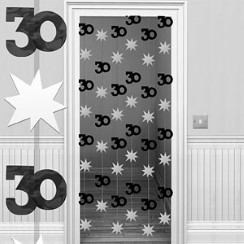 30th Black/Silver Door Curtain - 1.95m
