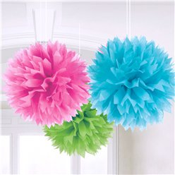 Multicoloured Pom Pom Decorations - 40cm
