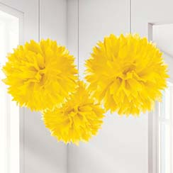 Yellow Pom Pom Decorations - 40cm