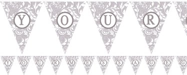 Personalise It Silver Alphabet & Number Bunting - 7.9m