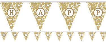 Personalise It Gold Alphabet & Number Bunting - 7.9m