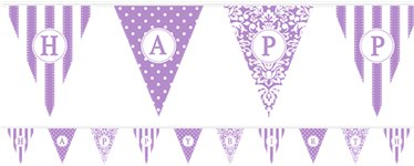 Personalise It Paper Pennant Banner - Lilac - Paper 7.9m