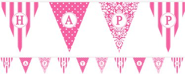 Personalise It Paper Pennant Banner - Hot Pink - 7.9m