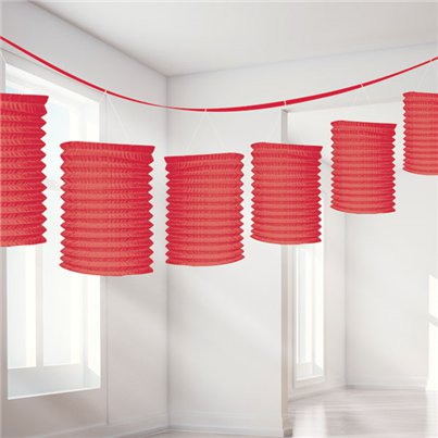 Red Paper Lantern Garland Decoration - 3.7m