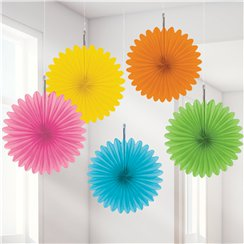 Multicoloured Paper Fan Decorations - 15cm