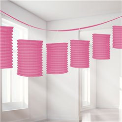 Pink Paper Lantern Garland Decoration - 3.7m