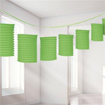 Lime Green Paper Lantern Garland Decoration - 3.7m