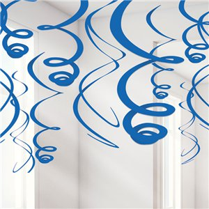 Royal Blue Hanging Swirls Decoration - 55cm