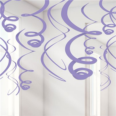 Purple Hanging Swirls Decoration - 55cm