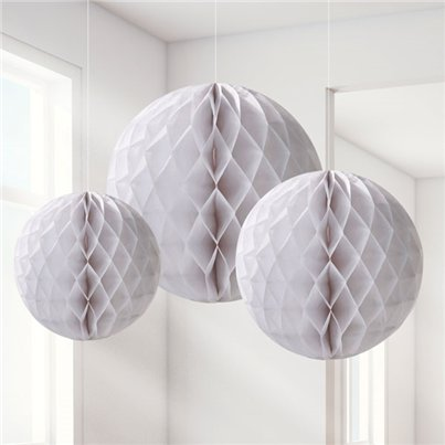 White Honeycomb Decorations - 20cm
